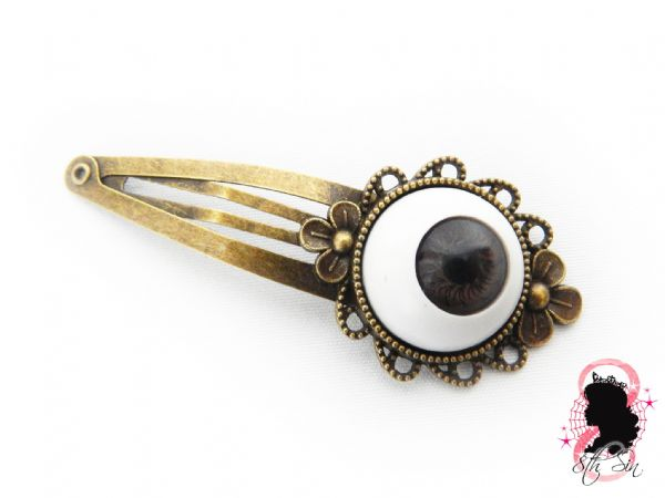 Antique Bronze and Brown Eyeball Hair Clips